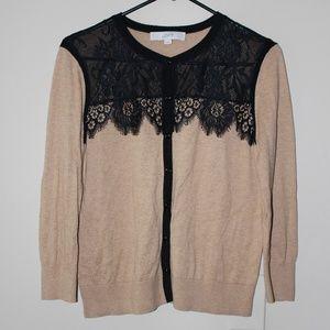 Ann Taylor LOFT Tan Knit Lace Cardigan Sweater M
